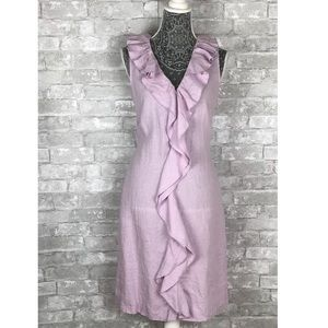 NWT TALBOTS Linen Ruffle Sleeveless Dress Size 8